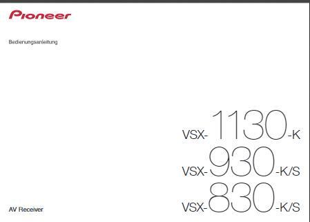 Pioneer VSX-830 K Bedienungsanleitung