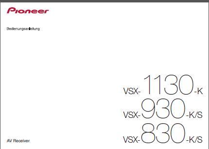 Pioneer VSX-930 K-S Bedienungsanleitung