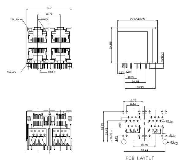 2X2 Port Rj45 Ethernet Jack With LED Y/G Side Entry