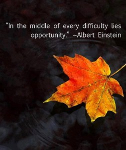 """In the middle of every difficulty lies opportunity."" -Albert Einstein"