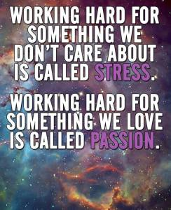 """Working hard for something we don't care about is called stress. Working hard for something we love is called passion."""
