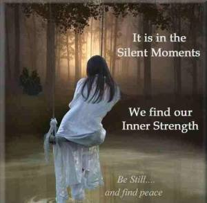 """It is in the Silent Moments We find our Inner Strength. Be Still... and find peace."""
