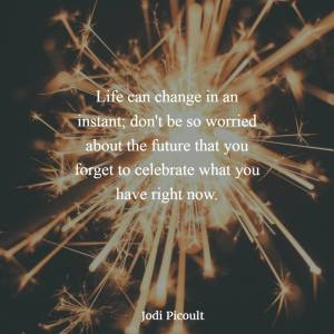 """""""LIfe can change in an instant; don't be so worried about the future that you forget to celebrate what you have right now."""" -Jodi Picoult"""
