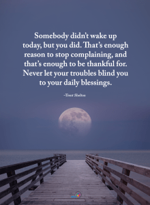 """Somebody didn't wake up today, but you did. That's enough reason to stop complaining, and that's enough to be thankful for. Never let your troubles blind you to your daily blessings."" -Trent Shelton"