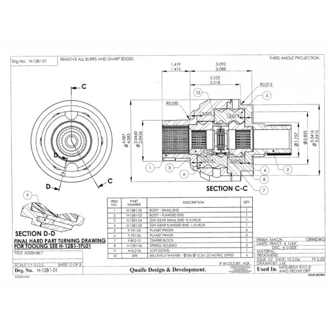 Quaife LSD Front Differential For Mitsubishi Evo 5 6 7 8 9