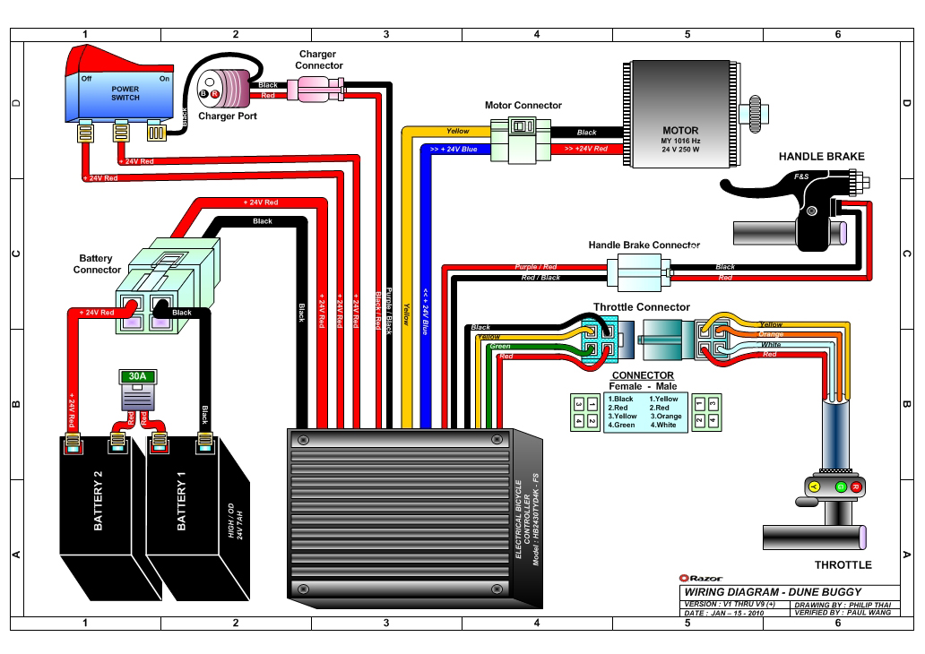 electric scooter battery wiring diagram bosch horn relay razor dune buggy parts