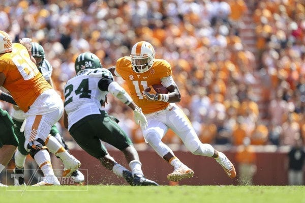 KNOXVILLE, TN - SEPTEMBER 17, 2016 - quarterback Josh Dobbs #11 of the Tennessee Volunteers during the game between the Ohio Bobcats and the Tennessee Volunteers at Neyland Stadium in Knoxville, TN. Photo By Hayley Pennesi/Tennessee Athletics