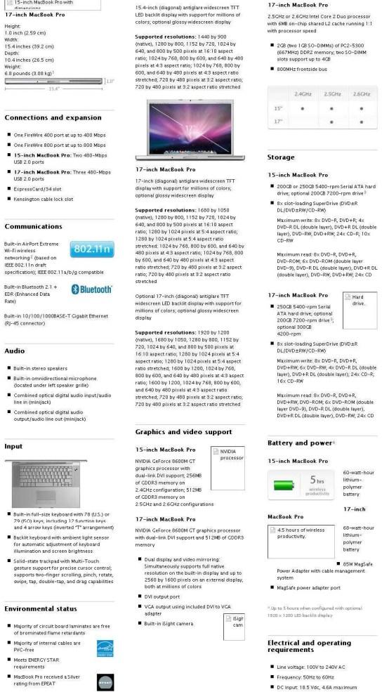 Apple Store - MacBook Specifications - October 13, 2008