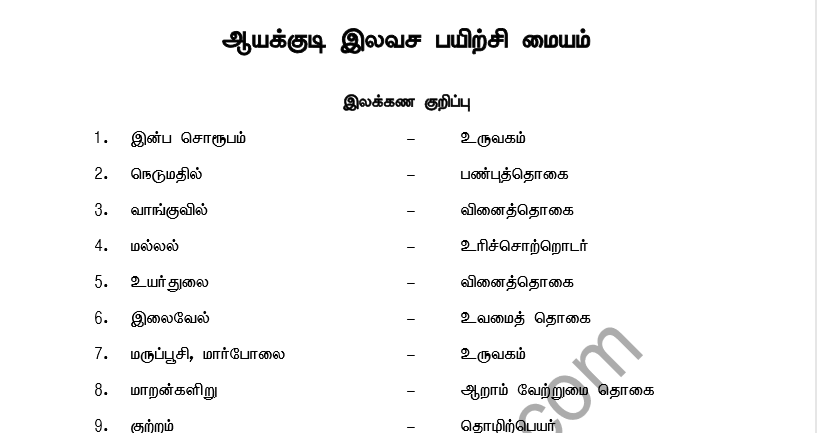 TNPSC GENERAL TAMIL HINTS