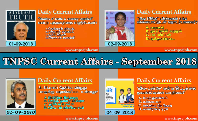 TNPSC Current Affairs September 2018