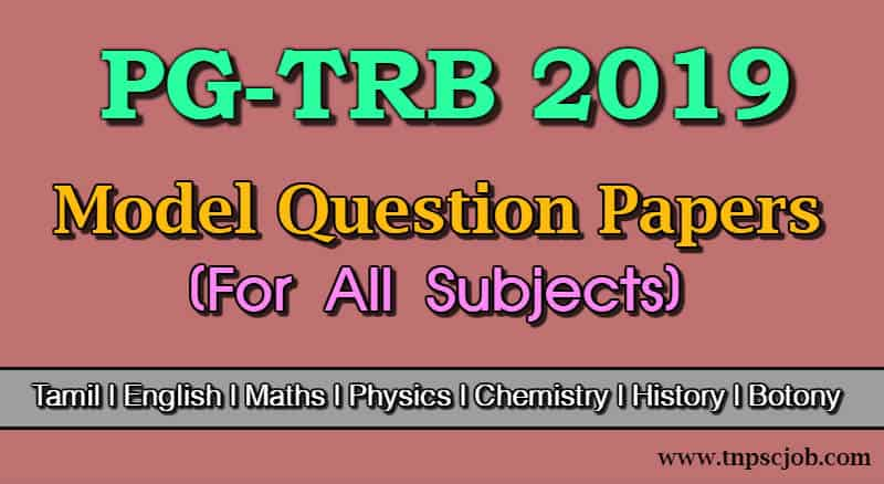 PG TRB Model Question Paper with Answer in Tamil 2019 Free Download