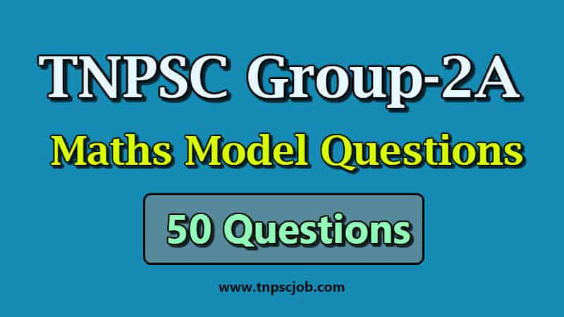 TNPSC Group 2A Maths Model Question Paper in Tamil