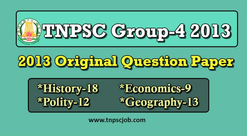 TNPSC Group 4 2013 Question Paper with Answer in Pdf | Paper