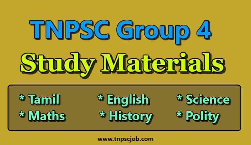 TNPSC Group 4 Study Materials in English Pdf