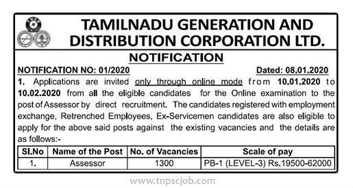 TNEB Assessor Recruitment Details 2020