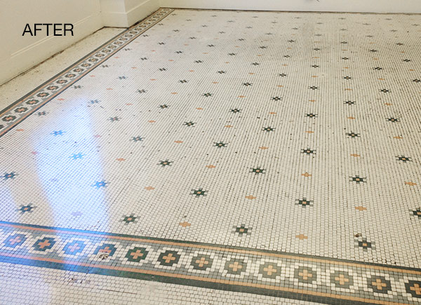 antique stone tile floor restoration