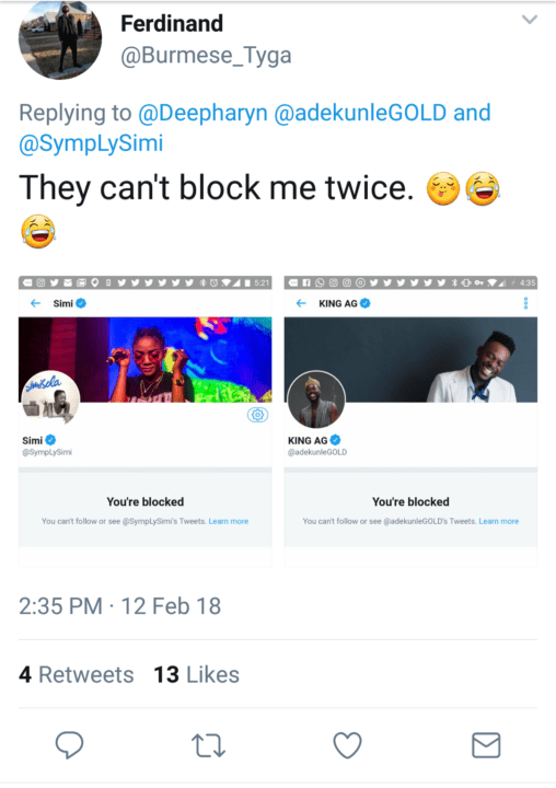 See - Adekunle Gold & Simi Block Followers Who Poked Into Their Sexual Lives