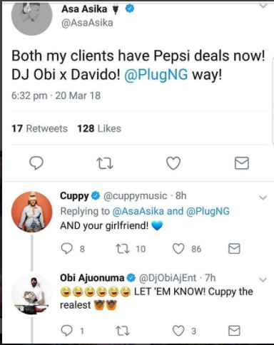 DJ Cuppy, Davido's Manager Are Rated Best Nigerian Celebrity Couple