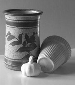 Photo of vase, garlic bulb, and flowerpot by C. Rosinski.