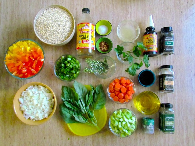 Ingredients for Quinoa and Baked Veggies