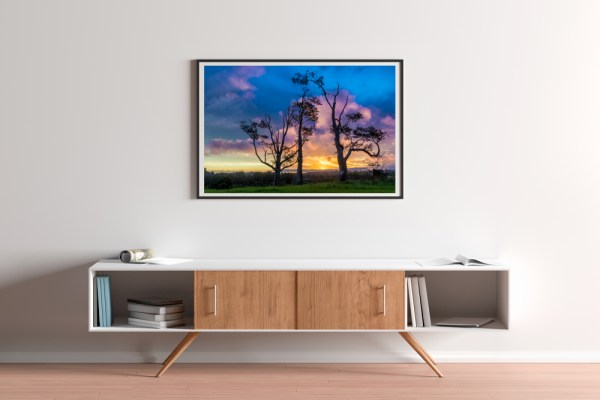 Three Tree Hill Sunset Art Print Mockup