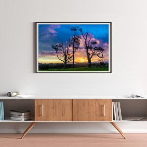 Three Tree Hill Sunset Art Print