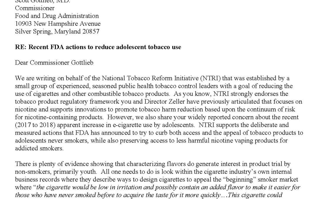 Letter to FDA Commissioner Scott Gottlieb, M.D. – Recent FDA actions to reduce adolescent tobacco use