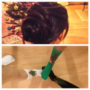 Details matter! Christmas socks and hair to make the look complete.