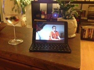Comfy couch, a glass of wine and my ipad watching Season 2 of OITNB