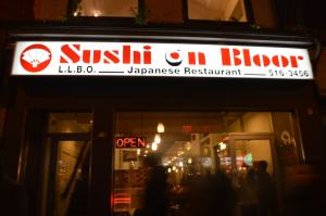 Night view of Sushi on Bloor.