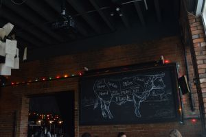 Chalkboard with a drawing of a cow and all edible parts.