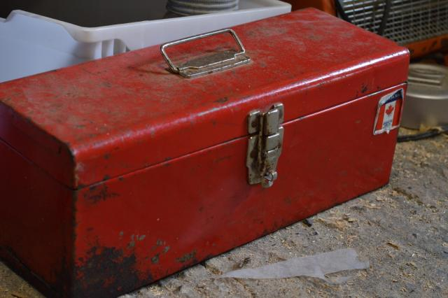 A close up of the first tool box that held all of the initial tools needed to start sign making.