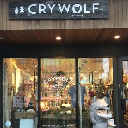 Photo of store front of Cry Wolf Clothing.