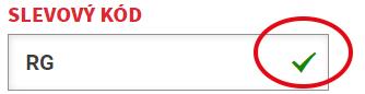 Slevový kód RG potvrďte fajvkou