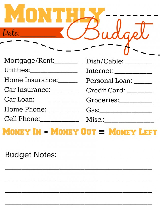 FREE Monthly Budget Printable Worksheet - ToBeThode