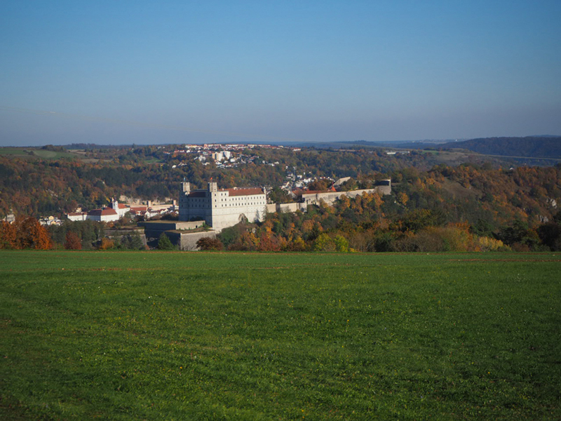 Blick über das Altmühltal mit Burg in der Mitte und bunten Wäldern