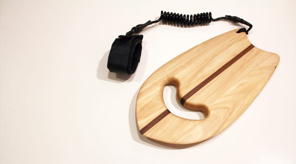 Wooden Handplane mit Leash