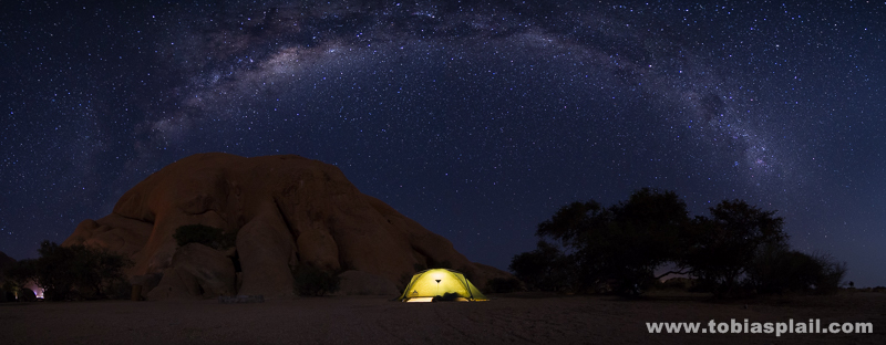 My tent under nightsky