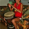 Tori playing the Djembe