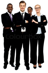 Group of business people, arms crossed