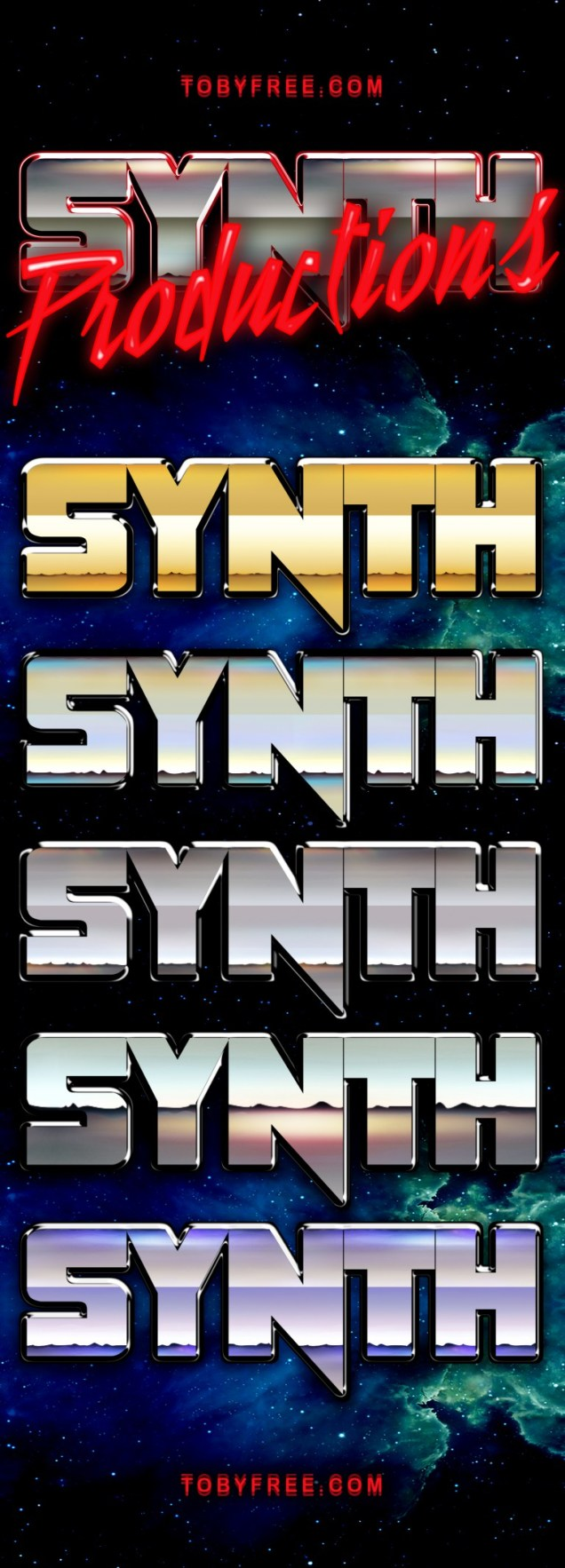 Synthwave Logo Template with layer styles in Photoshop as PSD