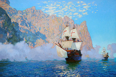 New_Albion._English_galleon_-Golden_Hinde-_by_Sir_Francis_Drake._Oil_on_canvas._60_x_90_cm.