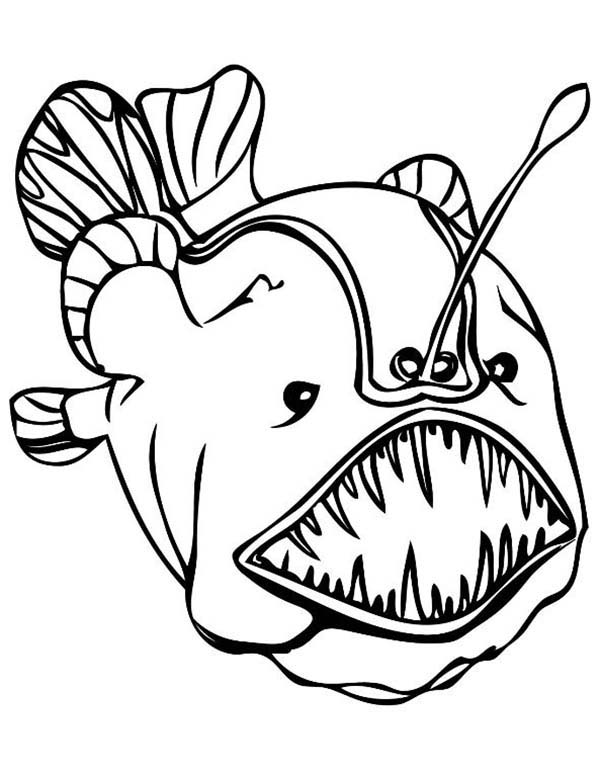Angler Fish Tribal Tattoo Coloring Pages