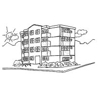 √ Apartment Building Coloring Pages Sketch Coloring Page