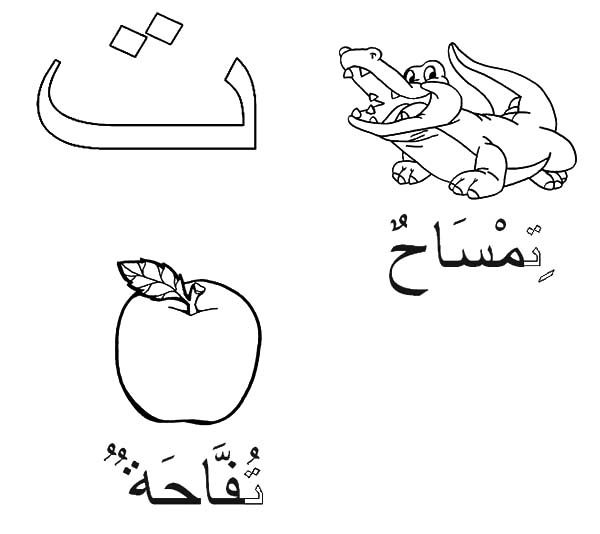 Arabic Alphabet Taa for Crocodile and Apple Coloring Pages