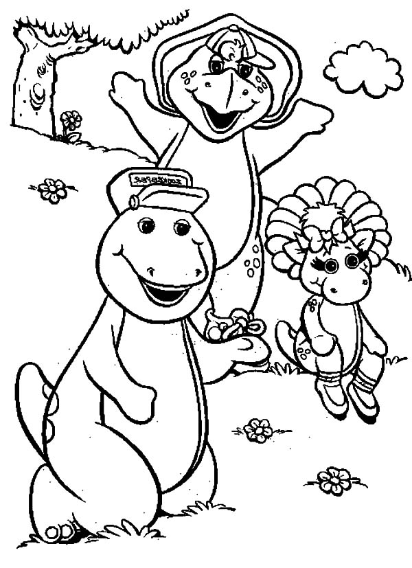 Barney Pulling Baby Bop On A Cart Coloring Pages