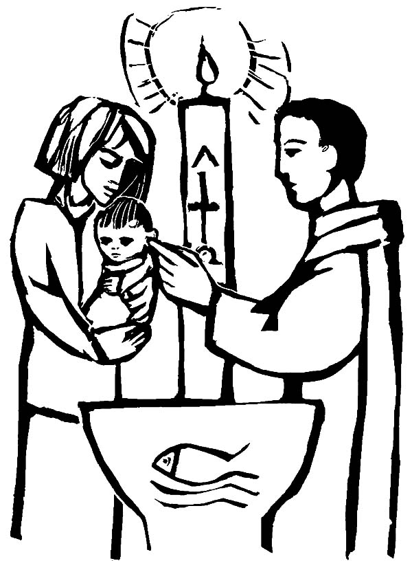 Christian Baby Baptism Coloring Pages : Best Place to Color