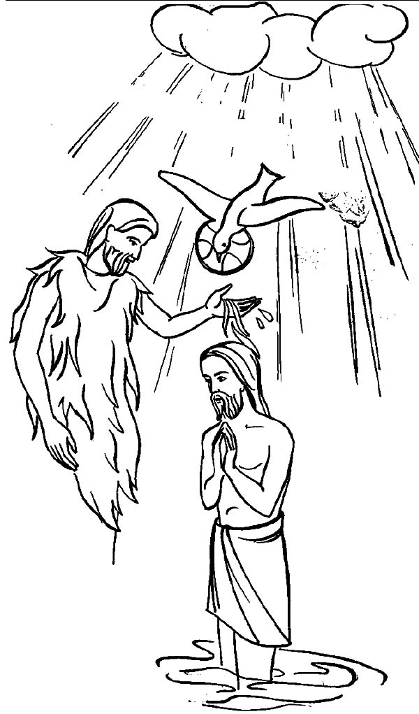 Baptism Of Jesus Coloring Pages Sketch Coloring Page