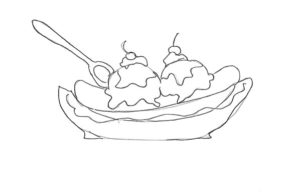 How to Draw Banana Split Coloring Pages: How to Draw