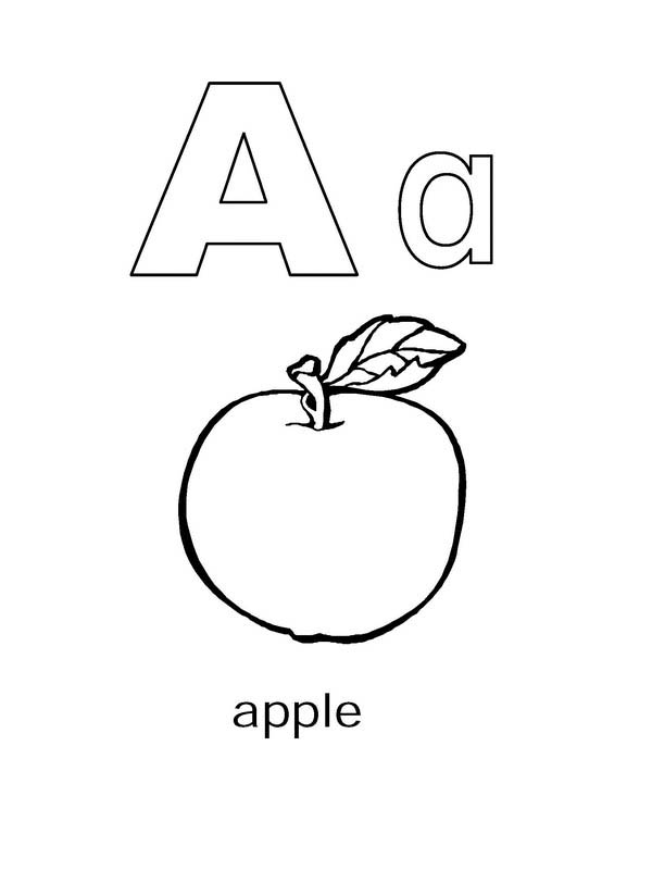 Preschool Kids Learning Letter A Coloring Page : Best